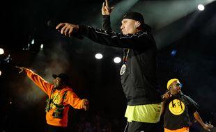 Les Black Eyed Peas (de gauche à droite: will.i.am, Taboo et apl.de.ap) sur scène à Nice, en juillet 2019.