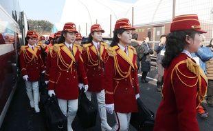 Les pom-pom girls nord-coréennes au village olympique de PyeongChang, le 8 février 2018.