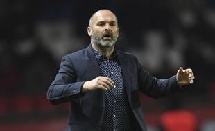 Pascal Dupraz, alors entraîneur du TFC, lors du match de Ligue 1 contre le Paris Saint-Germain au Parc des Princes, le 19 février 2017.