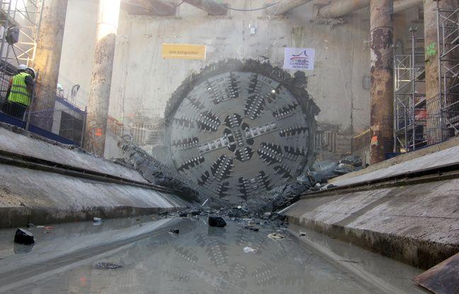 Le tunnelier Elaine chargé de creuser la ligne B du métro a perforé la station Saint-Germain le 19 juillet 2016, à Rennes.