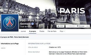Capture d'écran du compte Facebook du PSG.