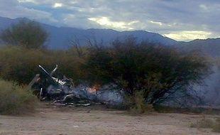 La carcasse 'un des hélicoptères qui s'est crashé en Argentine pendant le tournage de l'émission «Dropped»
