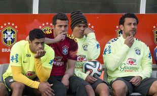 Hulk, Julio César, Thiago Silva et Fred à Granja Comary, le 6 juillet 2014.