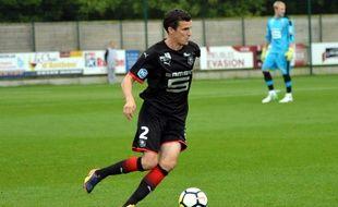Romain Danzé avec la réserve du Stade Rennais, le 12 août 2017 à Vitré.