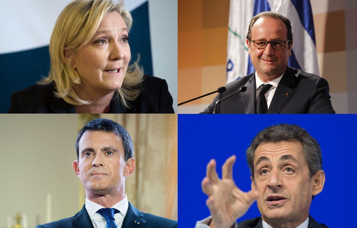 Montage de Marine Le Pen, François Hollande, Manuel Valls et Nicolas Sarkozy. – SIPA/20 Minutes