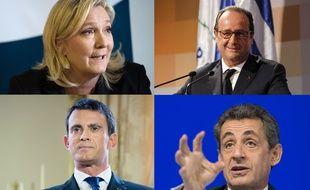 Montage de Marine Le Pen, François Hollande, Manuel Valls et Nicolas Sarkozy.