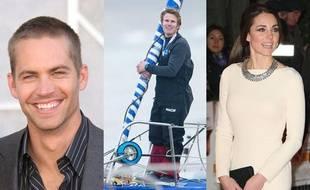 L'acteur américain Paul Walker, le navigateur français François Gabart et la duchesse de Cambridge Kate Middleton.