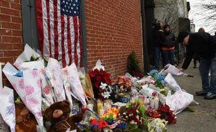 Hommage rendu à deux policiers assassinés en pleine rue la semaine dernière à new York le 21 décembre 2014