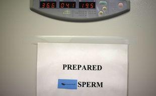 Une préparation de sperme destiné à une insémination artificielle dans un laboratoire de Melbourne, Australie.