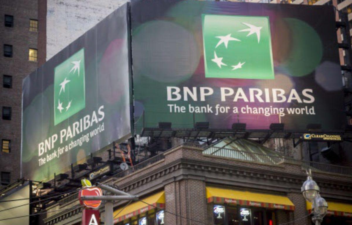 Une publicité pour BNP Paribas à New York, le 6 mai 2014. – RICHARD B. LEVINE/NEWSCOM/SIPA