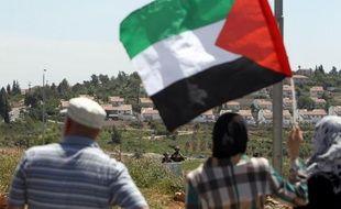 Manifestants palestiniens contre l'expansion d'une colonie juive à Nabi Saleh, en Cisjordanie, durant une confrontation avec des soldats israéliens, le 25 avril 2014