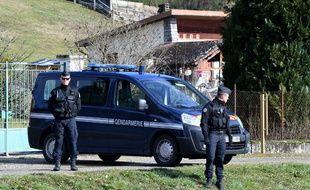 Des gendarmes à Domessin, lors du transfert de Nordahl Lelandais, le 14 février 2018.