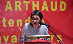 Nathalie Arthaud, candidate Lutte Ouvrière à l'élection présidentielle, le 3 février 2017 à Montpellier