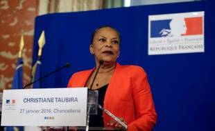 Christiane Taubira, le 27 janvier 2016 au ministère de la Justice à Paris