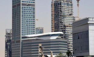 Des tours en construction le 9 mars 2016, dans le quartier des affaires de Ryad, en Arabie saoudite.