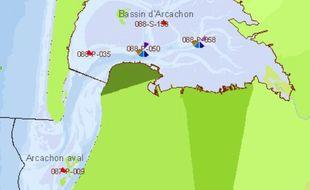 La carte du bassin d'Arcachon où la pêche et la consommation de coquillages est interdite.