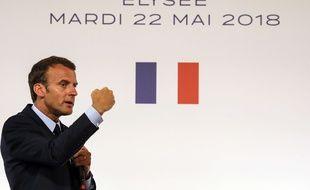 Emmanuel Macron à l'Elysée lors de son discours sur les quartiers en difficulté, le 22 mai 2018.