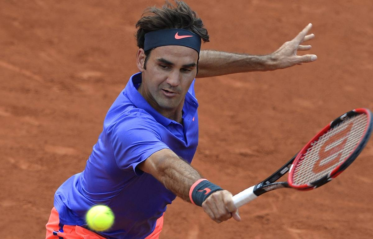 Roger Federer le 24 mai 2015 à Roland-Garros.  – MIGUEL MEDINA / AFP