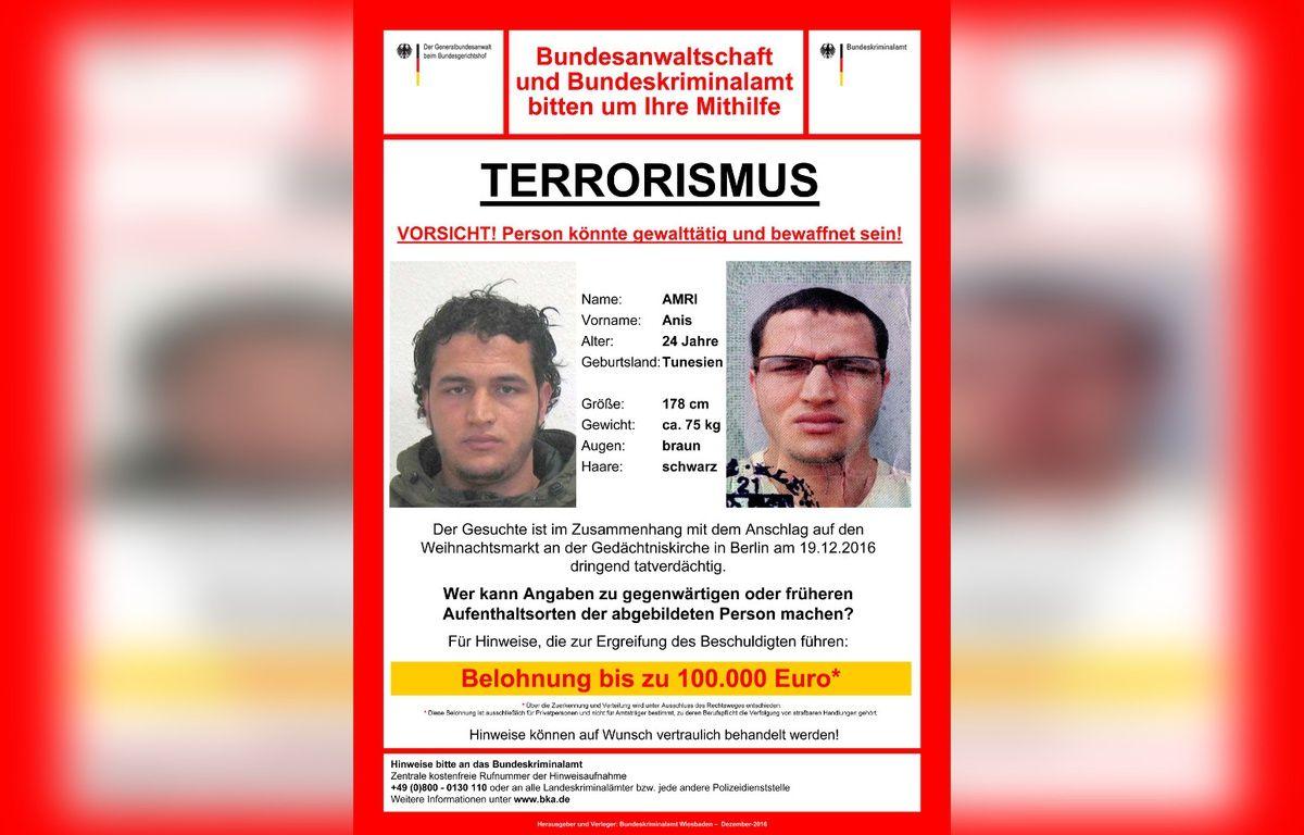 L'appel à témoin lancé par la police allemande pour retrouver Anis Amri, suspecté d'être l'auteur de l'attentat de Berlin. – POLICE