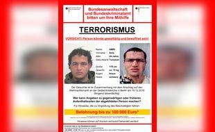 L'appel à témoin lancé par la police allemande pour retrouver Anis Amri, suspecté d'être l'auteur de l'attentat de Berlin.