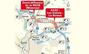 Carte de l'A432, nouveau tronçon d'autouroute qui va permettre aux automobilistes de se rendre plus rapidement au ski.