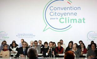 Lors de la visite d'Emmanuel Macron à la Convention citoyenne pour le climat.