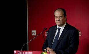 Jean-Christophe Cambadélis, Premier secrétaire du PS lors d'une conférence de presse le 11 avril 2015 à Solférino.