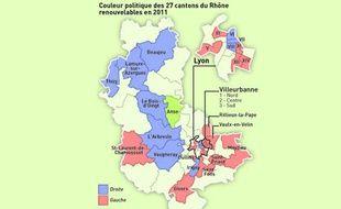 Carte des cantons renouvelables dans le Rhône lors des élections de mars 2011.
