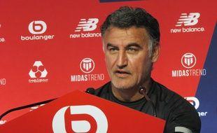 L'entraîneur du Losc,Christophe Galtier, lors du premier point presse de la saison .