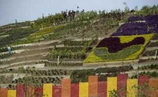 La montagne d'ordures transformée en jardin à Medellin, le 9 avril 2014