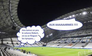 Le Vélodrome a diffusé des chants de supporters contre Nantes pour donner un peu de vie au huis clos.