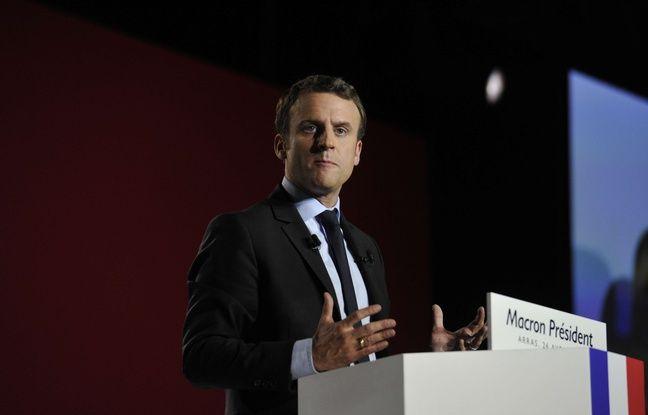 Emmanuel Macron en meeting a Arras. Le 27 avril 2017.
