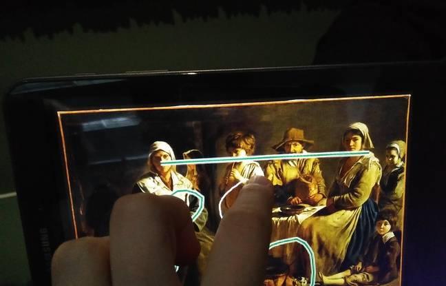 Sur la tablette, on peut signaler le mouvement de notre œil avec un trait et entourer ce qui nous semble important dans la composition.