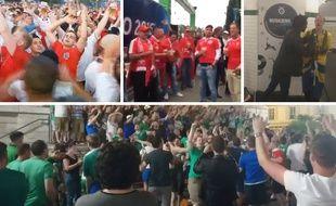 Les fans anglais, suisses, suédois et nord-irlandais font monter le son.
