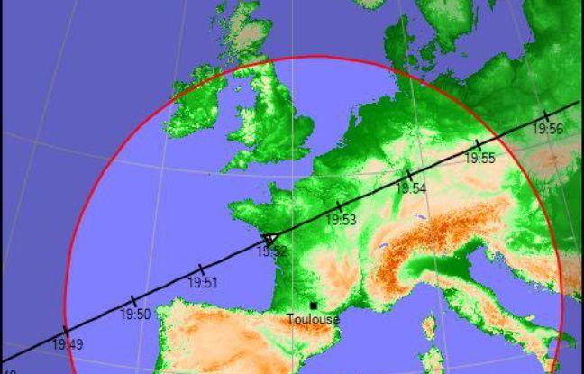 Le parcours de l'ISS au-dessus de la France le 24 mars 2020.