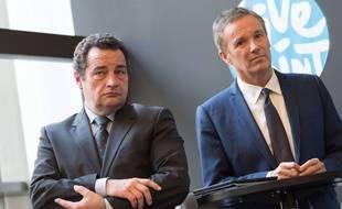 Jean- Frederic Poisson et Nicolas Dupont-Aignan lors du lancement des