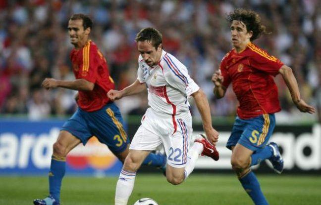 L'attaquant de l'équipe de France, Franck Ribéry, lors de la victoire contre l'Espagne, le 27 juin 2006 à Hannovre.