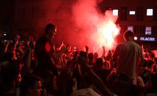 La fête des supporters marseillais sur le Vieux-Port à Marseille.