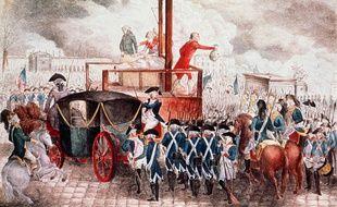 Dessin représentant l'exécution de Louis XVI, le 21 janvier 1793 sur la place de la Révolution (aujourd'hui place de la Concorde) à Paris.