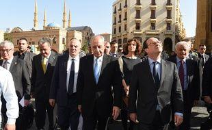 François Hollande (à dr.) au côté du président du parlement libanais, Nabih Berri, le 16 avril 2016 à Beyrouth.