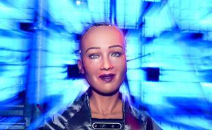 Sophia, le robot d'Hanson Robotics, au Web Summit 2018 (Altice Arena, Lisbonne)