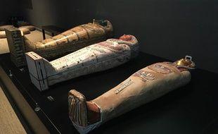 Plusieurs sarcophages sont exposés.