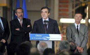 Le Premier ministre François Fillon le 14 novembre 2011 à Clisson, dans l'ouest de la France