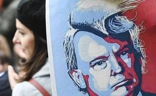 Portrait de Trump dans une manifestation contre le décret anti-immigration à Bruxelles.