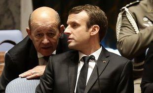 Emmanuel Macron et Jean-Yves Le Drian, le 20 septembre 2017 à New York.