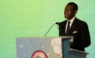 Le chef de l'Etat équato-guinéen, Teodoro Obiang Nguema, le 3 décembre 2014 à Malabo