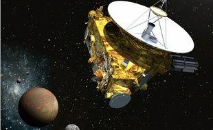 Vue d'artiste de New Horizons en approche de Pluton.