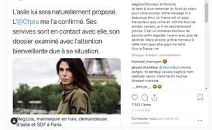 Negzzia a remercié le ministre de l'intérieur sur son compte Instagram.