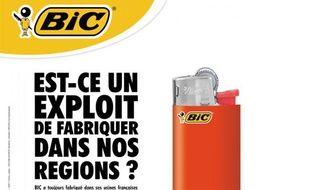 Publicité pour des briquetsBIC sur le thème du «Made in France».
