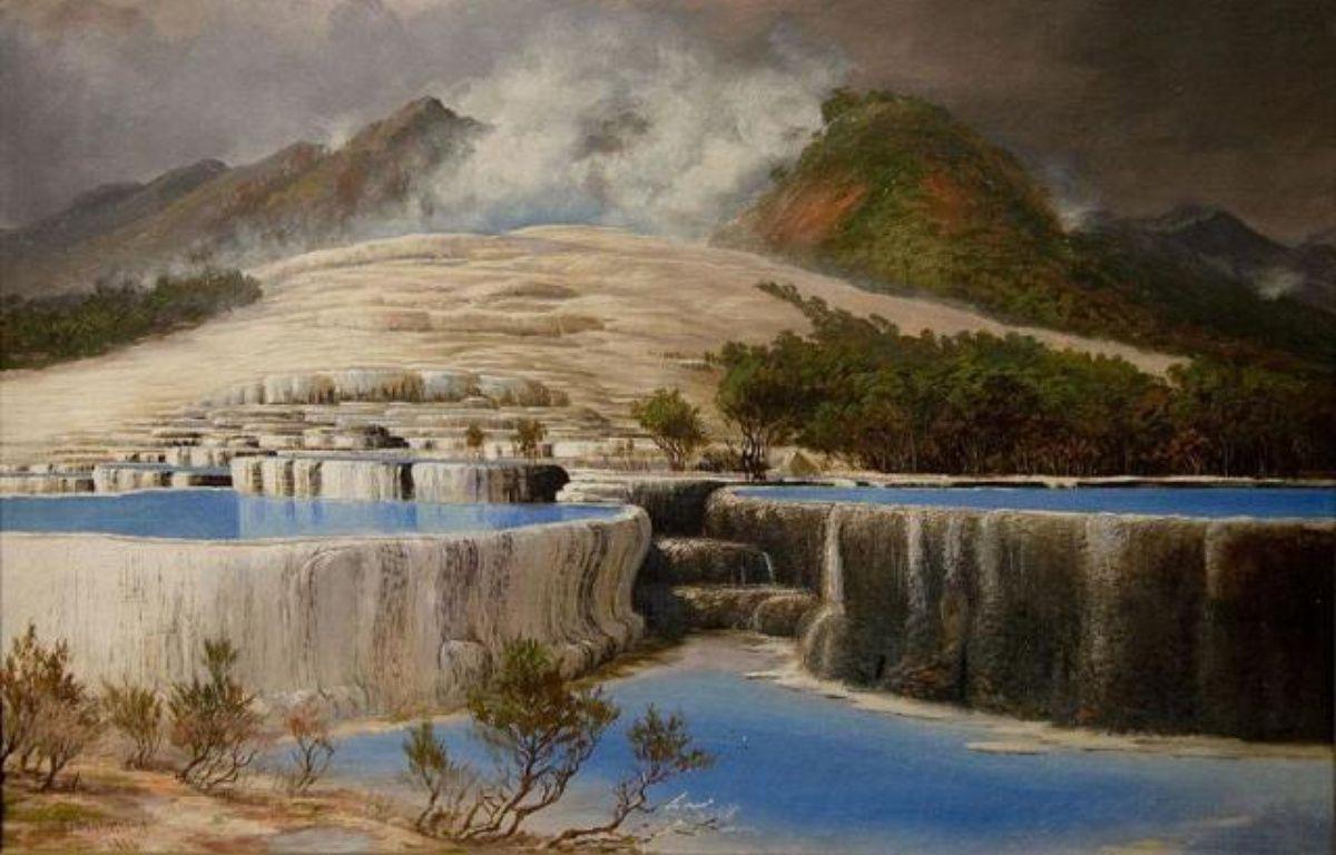 Le lac Rotomahana, peint par Charles Blomfield en 1903 (domaine public). – Domaine public